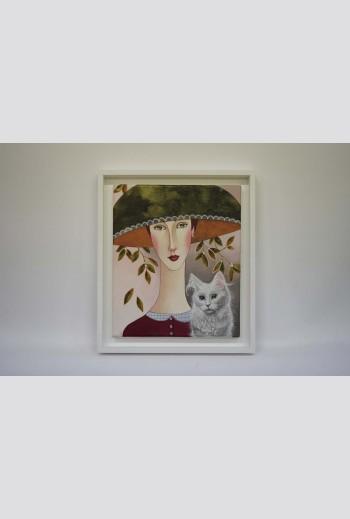 Delia with a white cat,...